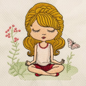 Girl Meditating Embroidery Design