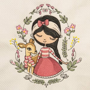 Girl in Frame Embroidery Design
