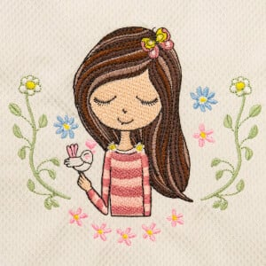 Girl and Bird Embroidery Design