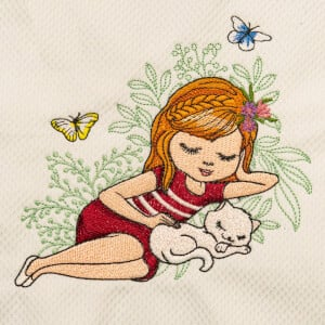 Girl with Cat Embroidery Design