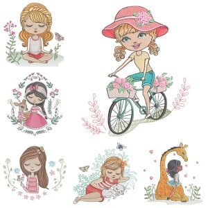 Girls in Spring Embroidery Design Pack