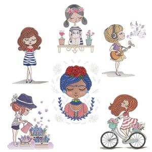 Delicate Girls Embroidery Design Pack
