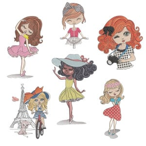 Delicate Girls 2 Embroidery Design Pack
