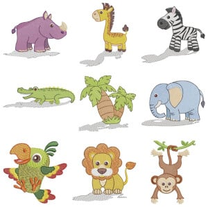 Safari Animals Embroidery Design Pack