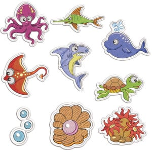 Seabed Animals II (Patch) Embroidery Design Pack