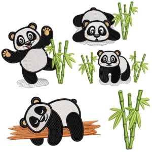 Panda Bear I Embroidery Design Pack