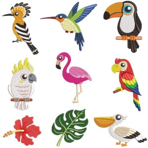 Tropical Birds I Embroidery Design Pack