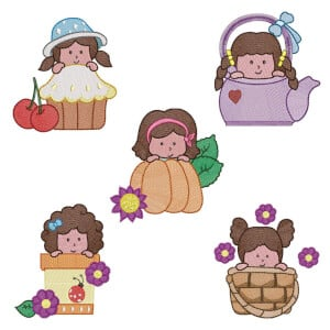 Girls I (Quick Stitch) Embroidery Design Pack