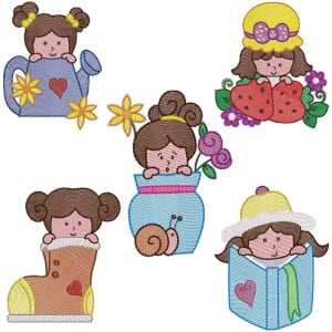 Girls II (Quick Stitch) Embroidery Design Pack