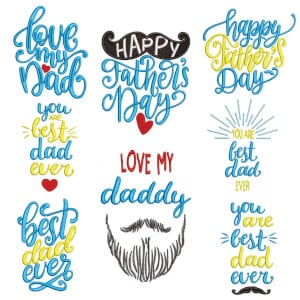 Fathers Day Embroidery Design Pack
