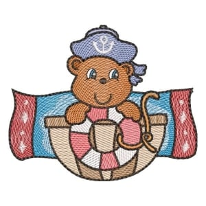Teddy Bear on The High Seas (Quick Stitch) Embroidery Design