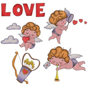 Cupid Angel 02 Embroidery Design Pack