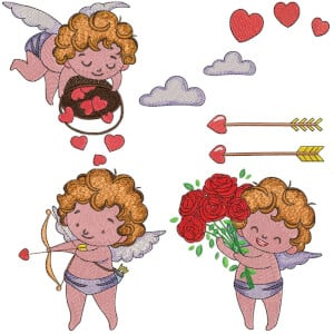 Cupid Angel 01 Embroidery Design Pack