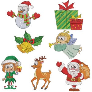 Happy Christmas Embroidery Design Pack