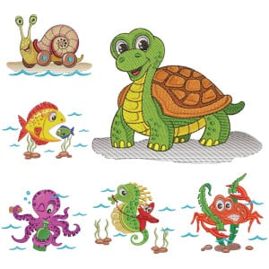 Seabed Animals Embroidery Design Pack