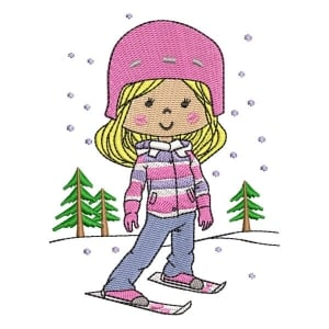 Girl in the Snow 02 Embroidery Design