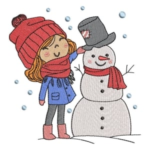 Girl with Snowman Embroidery Design