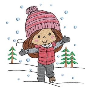 Girl in the Snow Embroidery Design