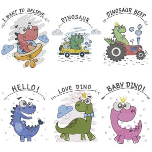 Dinosaurs (Quick Stitch) Embroidery Design Pack
