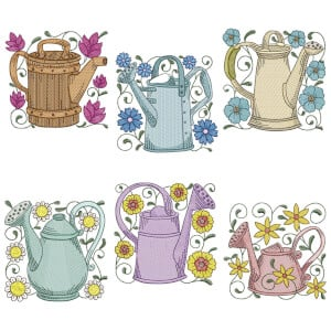 Watering Can Embroidery Design Pack