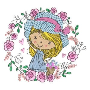 Girl with Flowers 2 Embroidery Design
