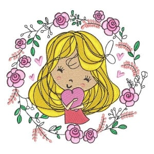 Girl with Flowers 3 Embroidery Design