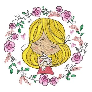 Girl with Flowers 4 Embroidery Design