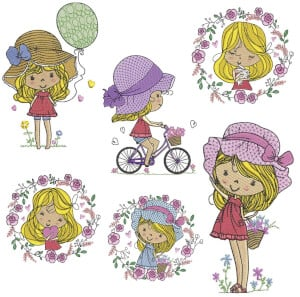 Friend Girls Embroidery Design Pack