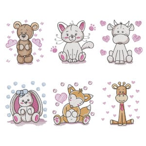 Love Animals (Quick Stitch) Embroidery Design Pack