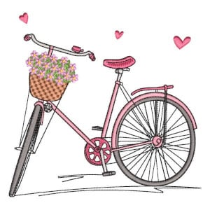 Bike with Flowers Embroidery Design