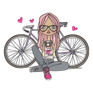 Girl with Bike Embroidery Design