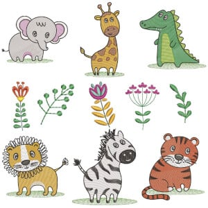 Baby Animals (Quick Stitch) Embroidery Design Pack