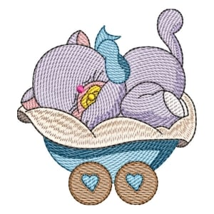 Cat on Baby Carriage (Quick Stitch) Embroidery Design