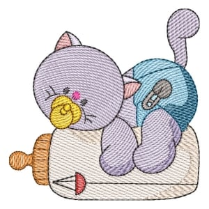Cat with baby bottle (Quick Stitch) Embroidery Design