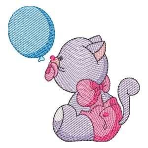Cat with Balloon (Quick Stitch) Embroidery Design