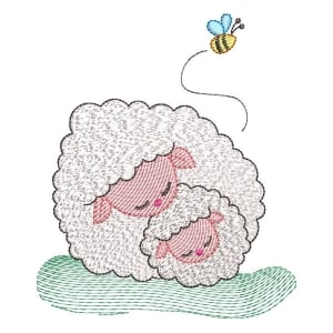 Sheeps on Farm (Quick Stitch) Embroidery Design