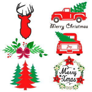 Meyy Christmas (Applique) Embroidery Design Pack