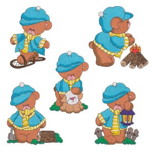 Farm Teddy Bears Embroidery Design Pack