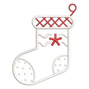 Christmas sock Embroidery Design