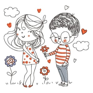 Couple in love Embroidery Design
