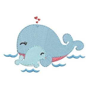 Whale Mom (Quick Stitch) Embroidery Design