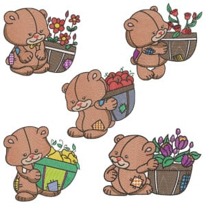 Teddy Bear (Quick Stitch) Embroidery Design Pack