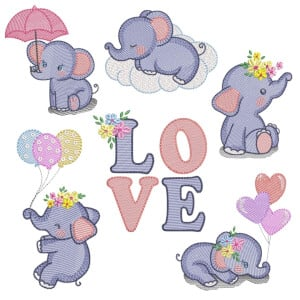 Baby Elephants (Quick Stitch) Embroidery Design Pack