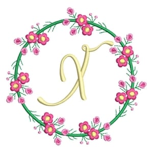 Letter X Floral Monogram Embroidery Design