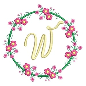 Letter W Floral Monogram Embroidery Design