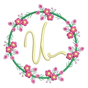 Letter U Floral Monogram Embroidery Design