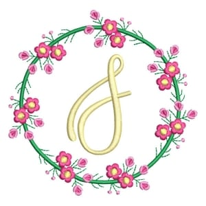Letter S Floral Monogram Embroidery Design