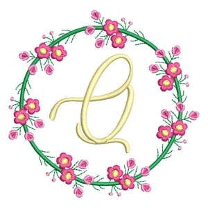 Letter Q Floral Monogram Embroidery Design