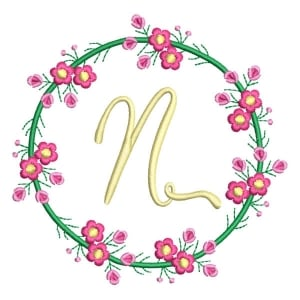 Letter N Floral Monogram Embroidery Design