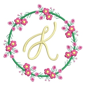 Letter K Floral Monogram Embroidery Design